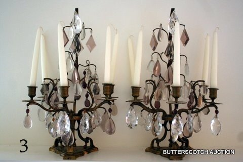 3: PAIR BRONZE AND GLASS 5-LITE CANDELABRA/MANTLE
