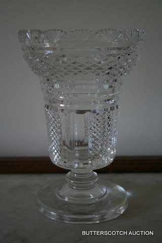 21: ENGLISH CRYSTAL VASE OF RND.TAPERING FORM W/FAN