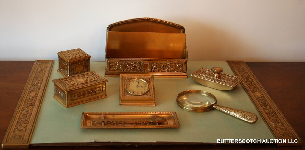 1: TIFFANY & CO. DORE' BRONZE 9 PCS. DESK SET,