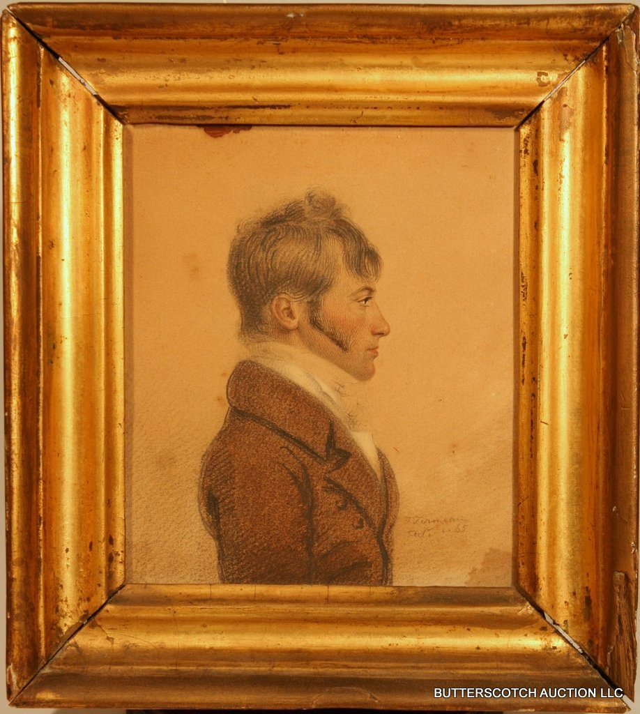 14:  19TH C. MIXED MEDIA ½ PORTRAIT PROFILE