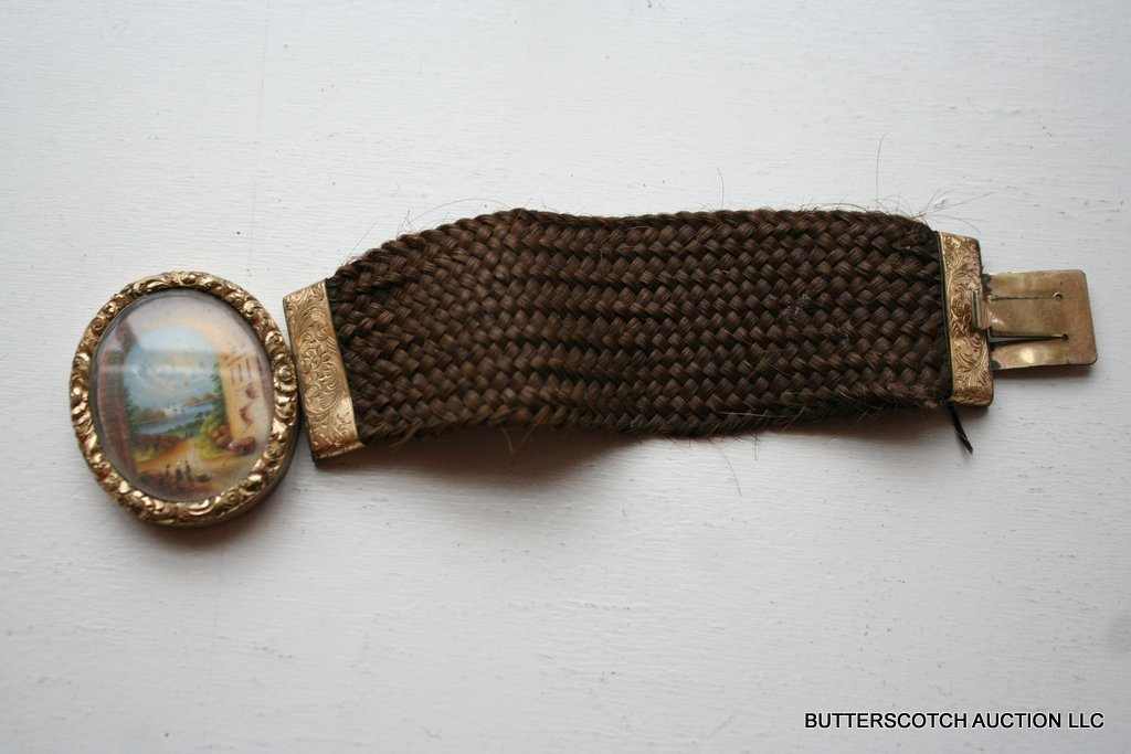 17:  VICTORIAN VERMEIL HAIR WORKED MOURNING BRACELET