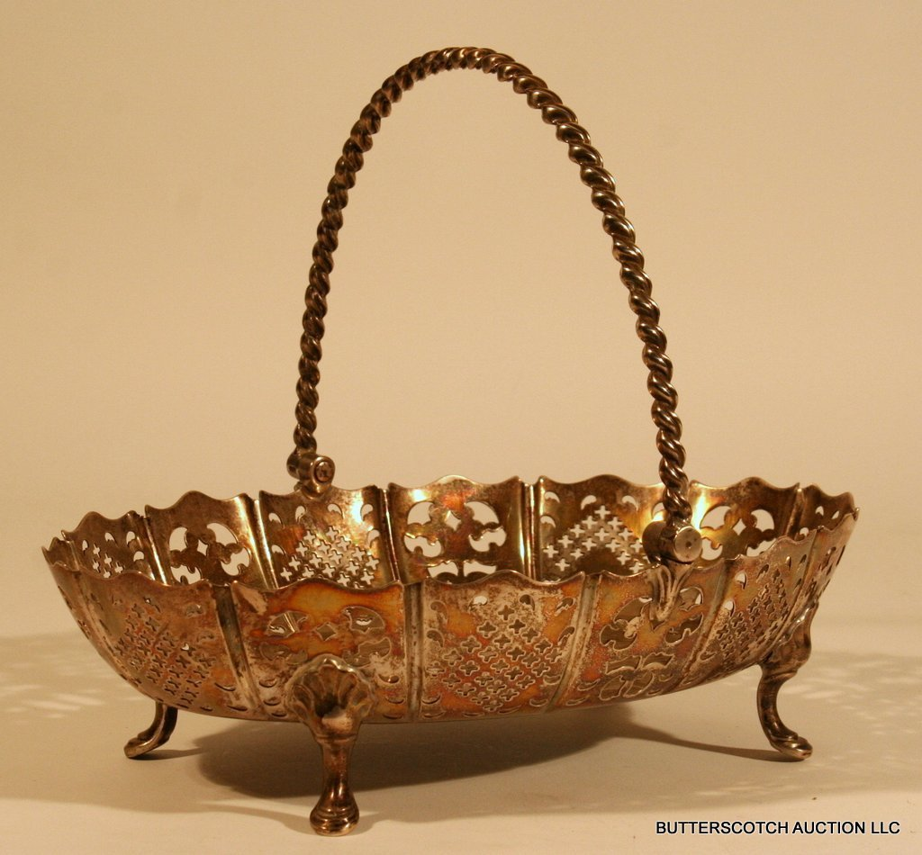 20:  VICTORIAN SILVER BASKET W/SWING HANDLE