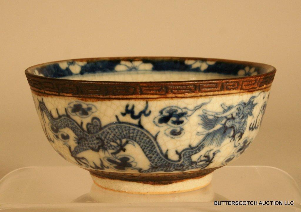21:  CHINESE BLUE & WHITE PORCELAIN BOWL  W/DRAGON