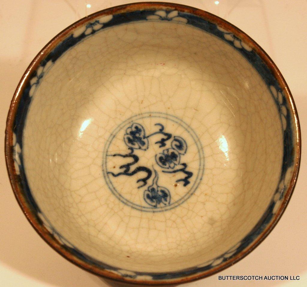 21:  CHINESE BLUE & WHITE PORCELAIN BOWL  W/DRAGON - 3