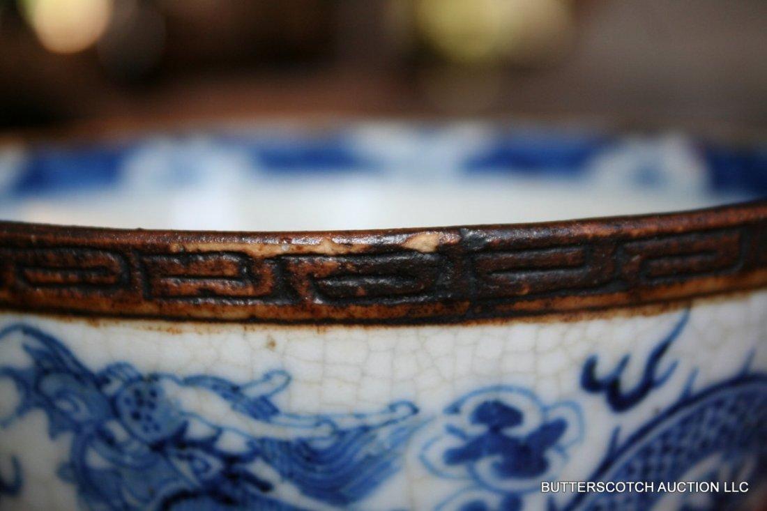 21:  CHINESE BLUE & WHITE PORCELAIN BOWL  W/DRAGON - 4