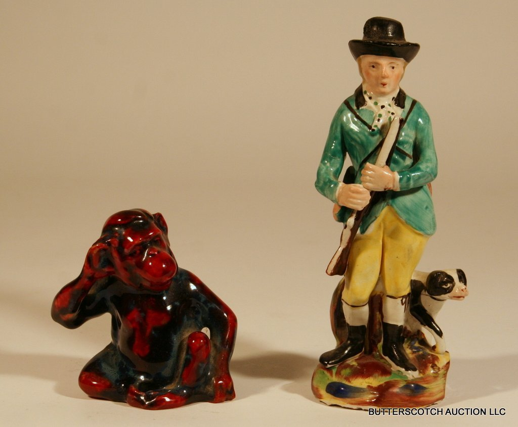 23:  2-PC. LOT: ROYAL DOULTON FLAMBÉ MONKEY,