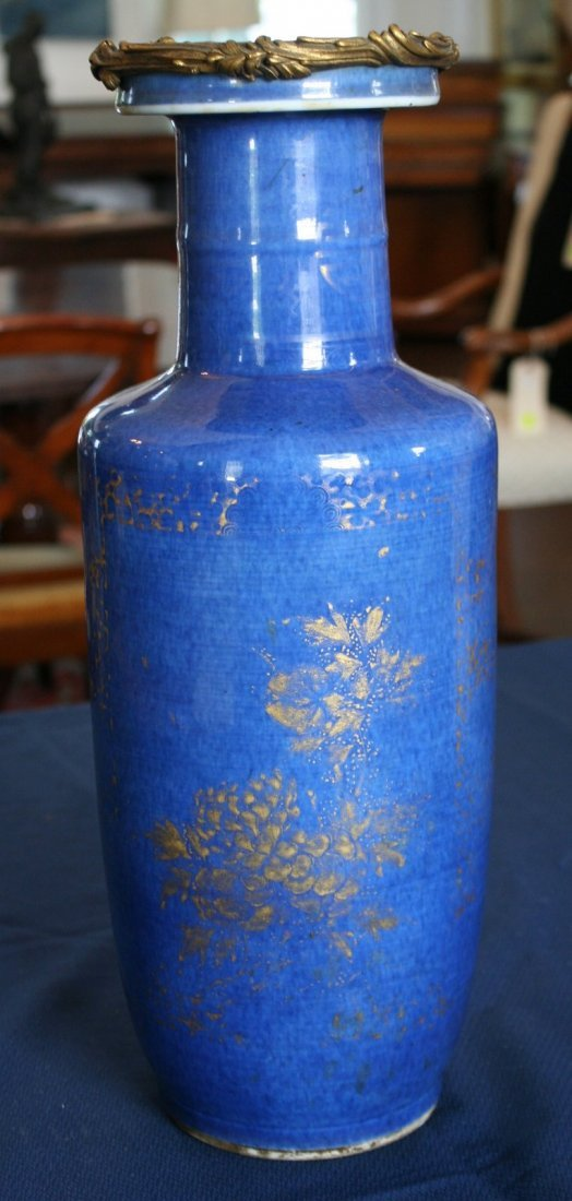 277:  PAIR 18THC. BLUE CHINESE ROULEAU-SHAPED VASES - 10