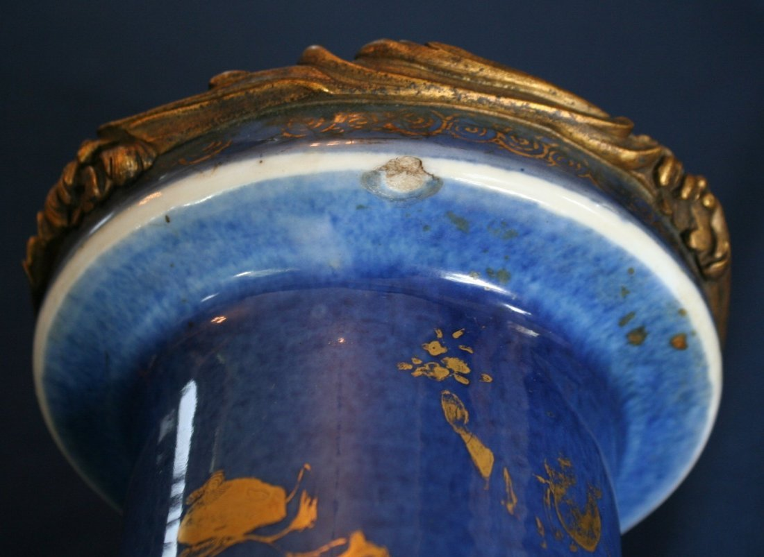 277:  PAIR 18THC. BLUE CHINESE ROULEAU-SHAPED VASES - 5