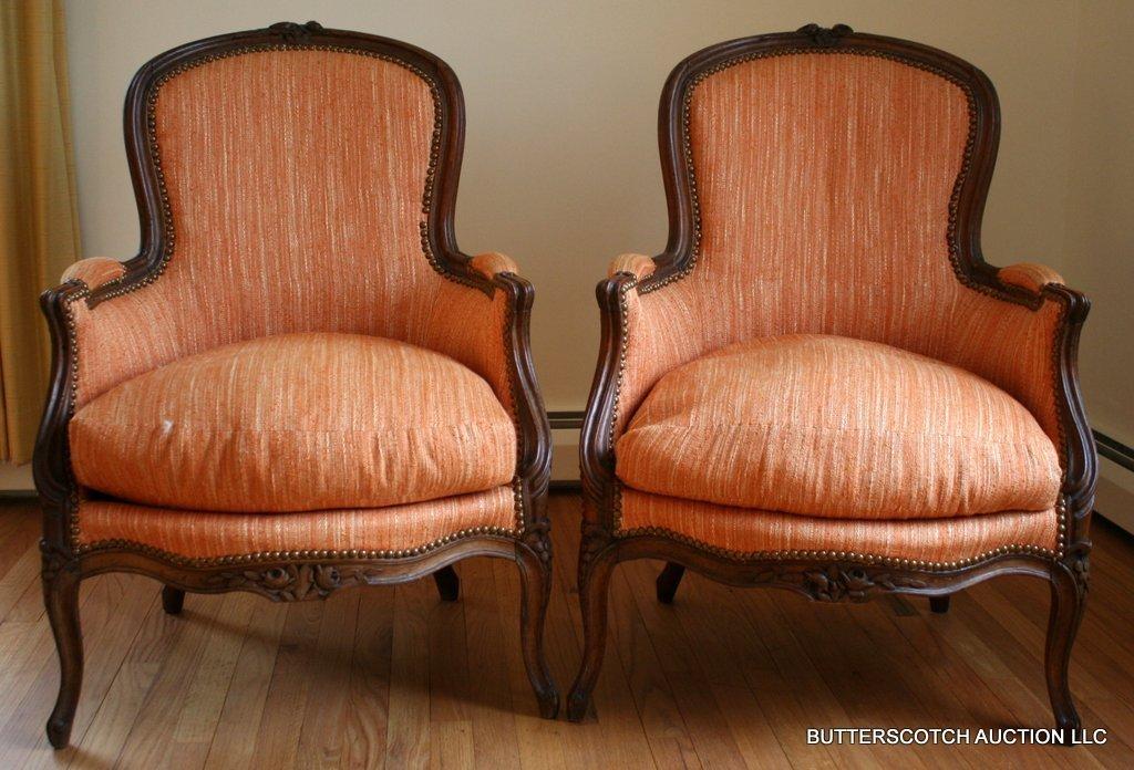 7) PAIR LOUIS XV BERGERES  W/LOOSE DOWN SEATS,