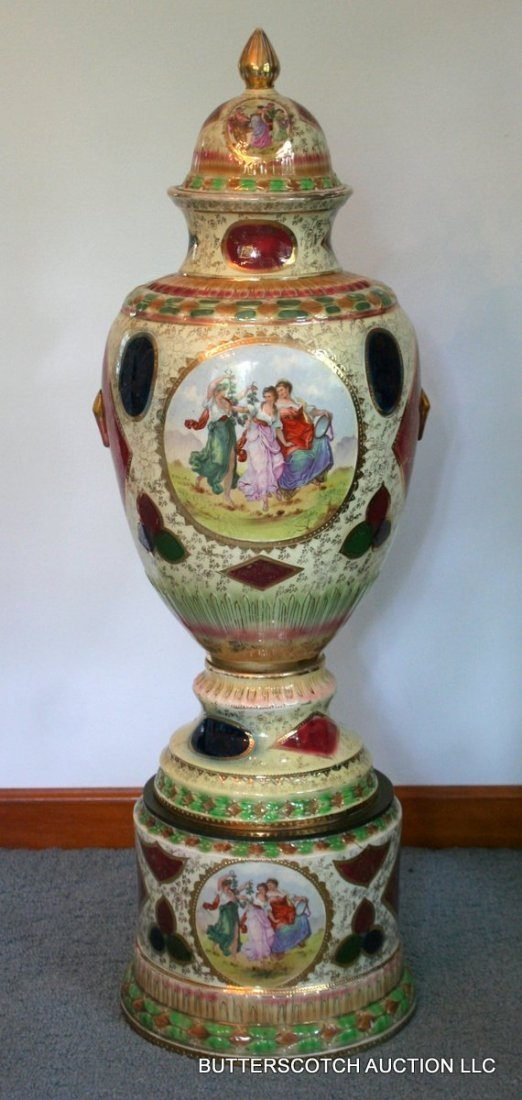 10) ROYAL VIENNA MONUMENTAL COVERED URN, with base.