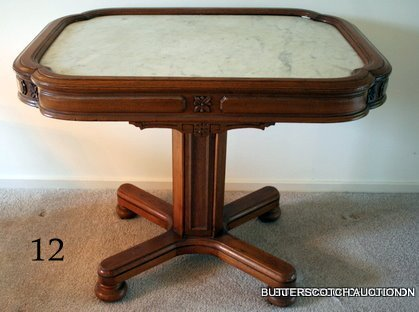 12) WILLIAM IV WALNUT CENTRE TABLE W/INSET MARBLE