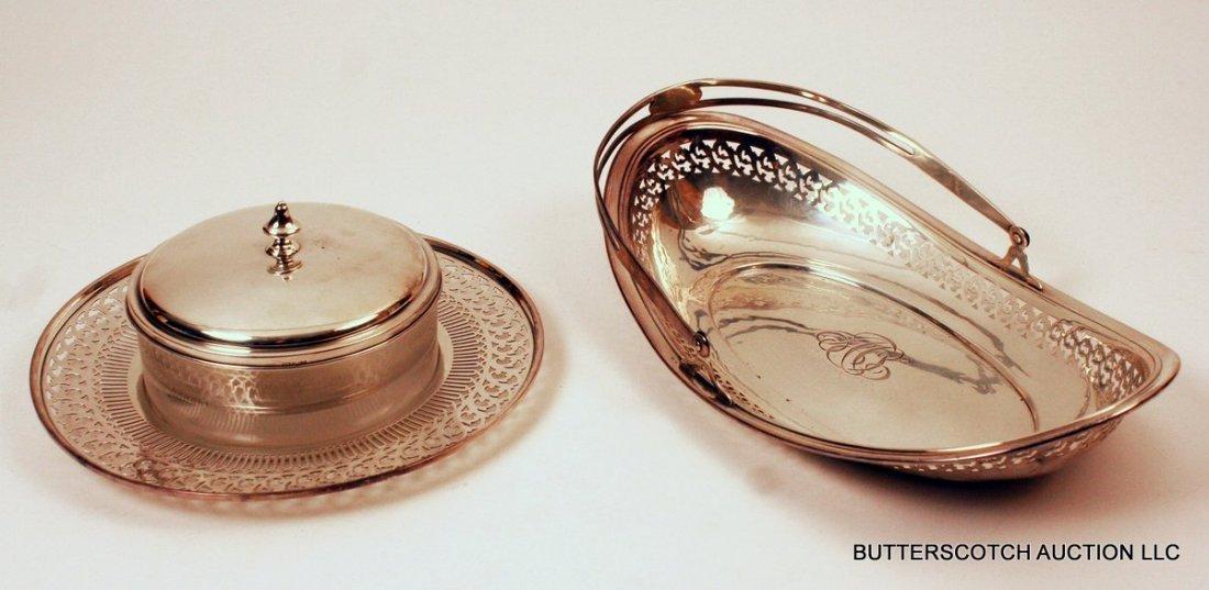 21) 3 PC. SILVER LOT: 1 sterling silver bread basket