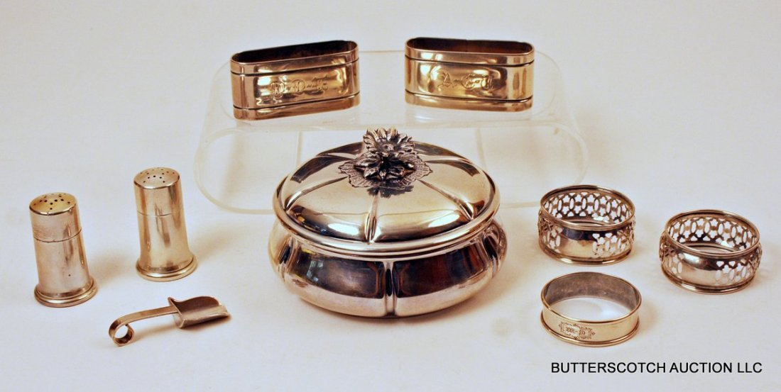 23) MISC. LOT OF SILVER: Pair of Tiffany salt and