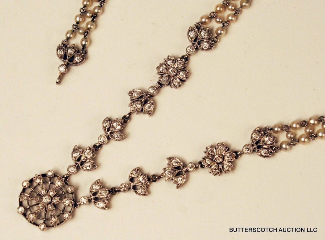 401A) IMPORTANT EDWARDIAN PT.& DIAMOND & PEARL NECKLACE