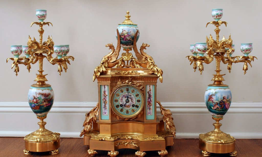 1) 19TH C. FRENCH PORCELAIN & ORMOLU GARNITURE