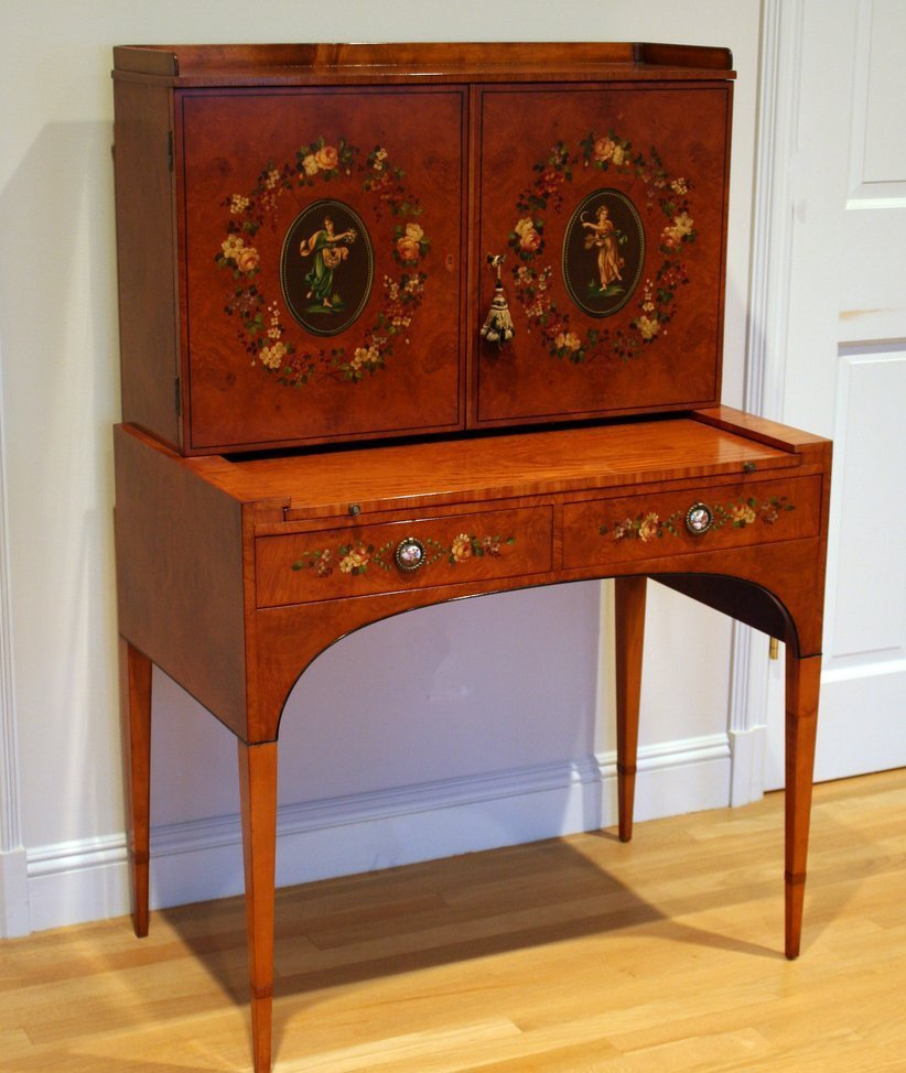 4) ADAMS STYLE SATINWOOD PAINT-DECORATED LADIES