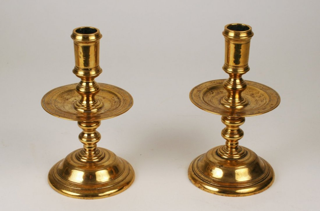 6) PAIR HEAVY BRASS DUTCH CANDLESTICKS, CA 1650,