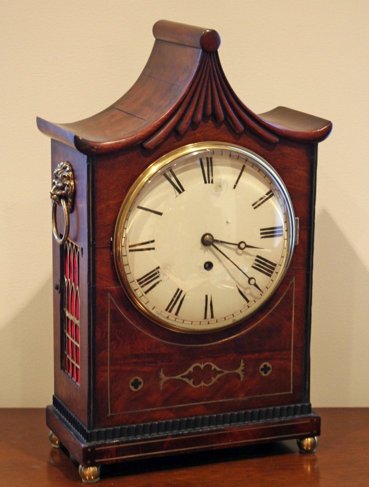 7) GEORGIAN-STYLE MAHOGANY MANTLE CLOCK WITH