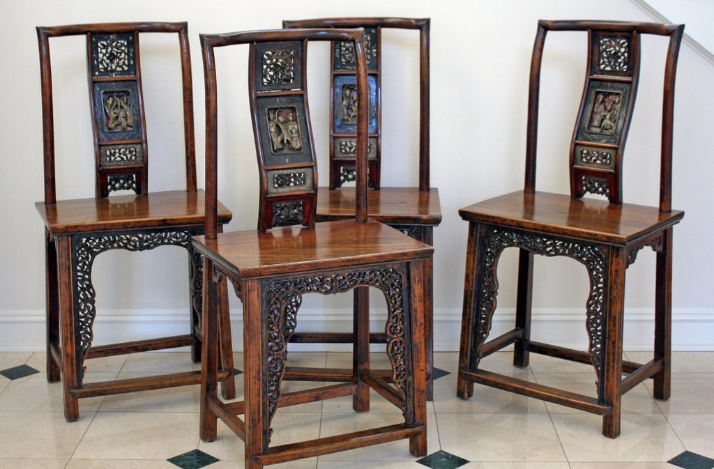 19) SET 4 ANTIQUE CARVED CHINESE ARMCHAIRS, the