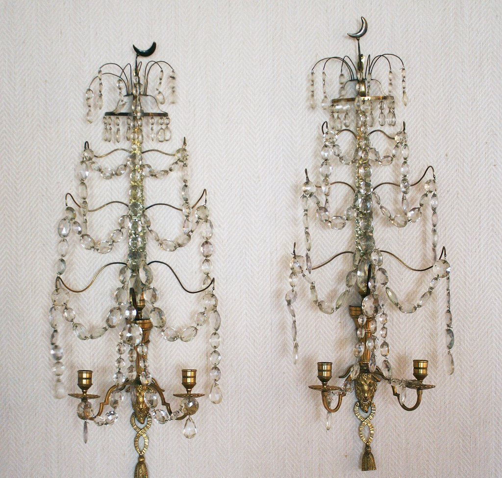 22) PAIR 19TH C. CUT GLASS & GILT ORMOLU WALL SCONCES,