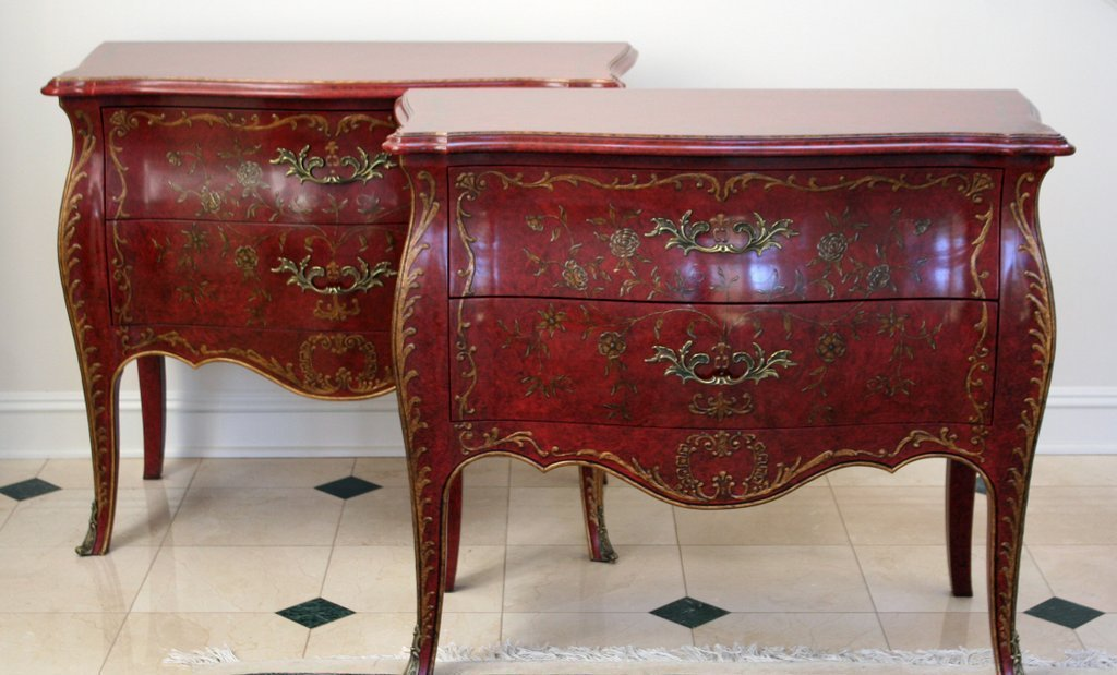 23) PAIR OF LOUIS XV-STYLE BOMBAY-FORM COMMODES
