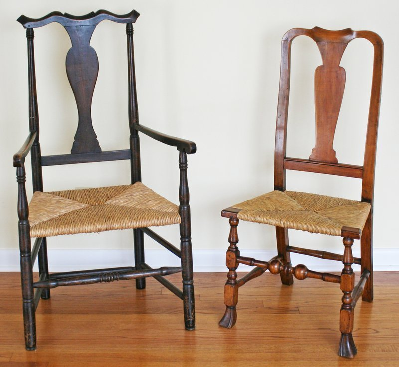 6) 2 EARLY AMERICAN BALUSTER-BACK CHAIRS, including