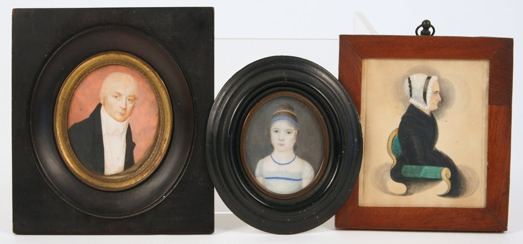 9D) LOT 3-19TH C. MINIATURES, 2-ON IVORY, 1-ON HEAVY