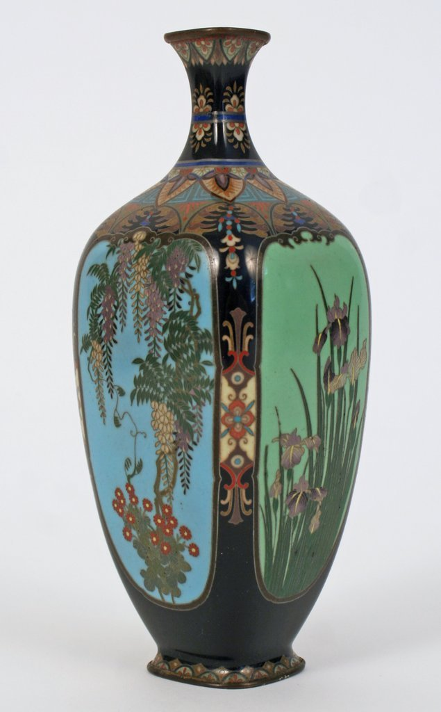 """9F) CLOISONNÉ BUD VASE W/ SILVER WIRE INLAY H. 6"""","""
