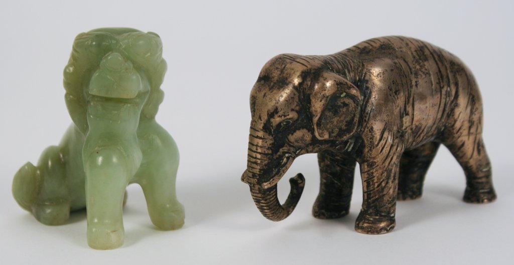 9G) 2-PIECE LOT: SILVER MINIATURE ELEPHANT W/