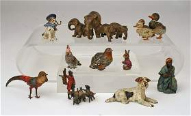 ) 10 SMALL COLD-PAINTED FIGURAL BRONZES, including
