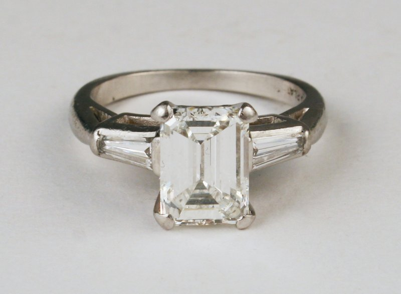 530) PLATINUM LADY'S EMERALD CUT ENGAGEMENT RING,