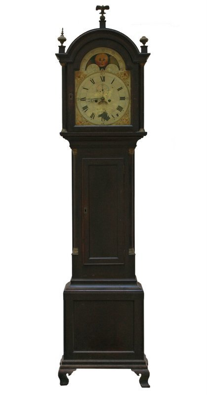 FEDERAL CARVED MAHOGANY TALL CASE CLOCK,