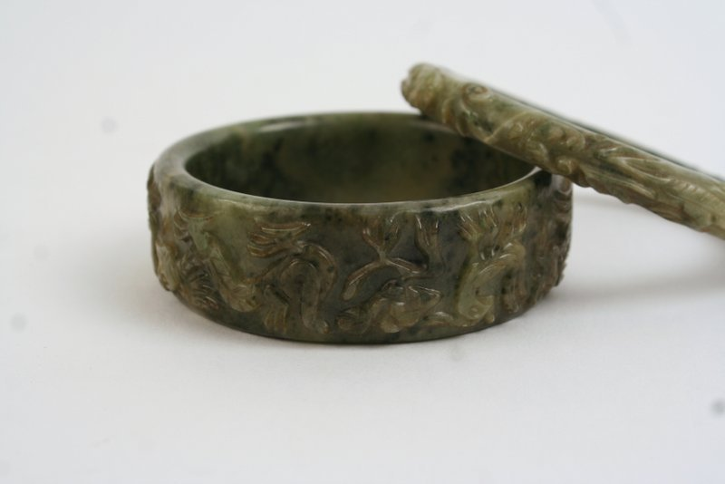 MOTTLED GREEN CUFF HARD BRACELET