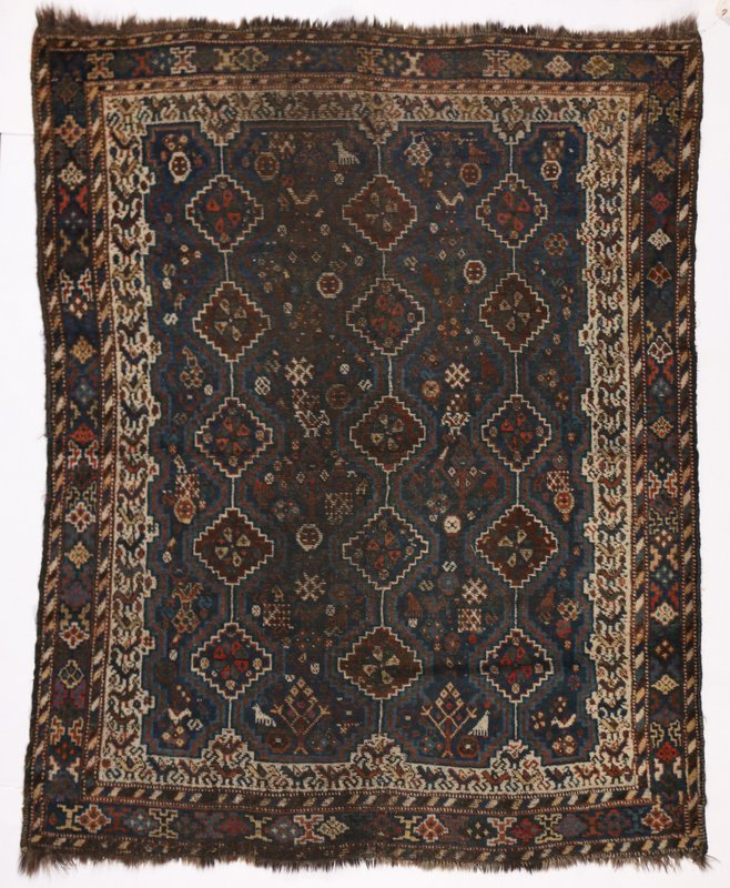 "E. 20TH C. SHIRAZ RUG, 6' 5"" x 5'-3"""