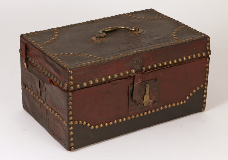 19TH C. DOCUMENT BOX with leather covering,