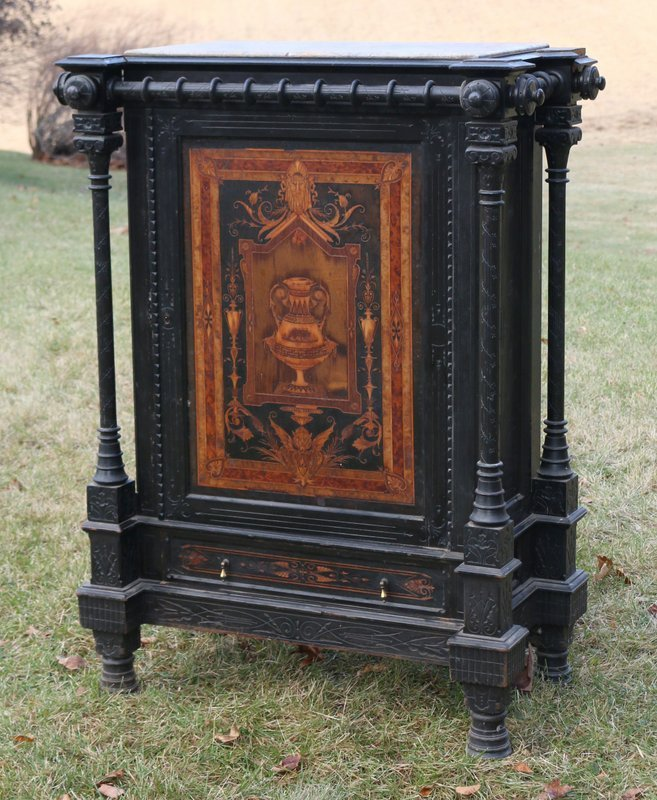 19TH C. AESTHETIC EBONIZED MARQUETRY CABINET ALLEN BROS