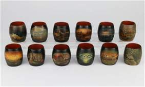 SET 12-RUSSIAN HAND PAINTED LACQUER NAPKIN RINGS,