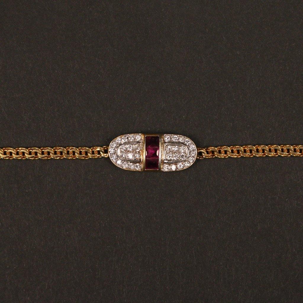 14KYG DIAMOND & RUBY PENDANT BRACELET