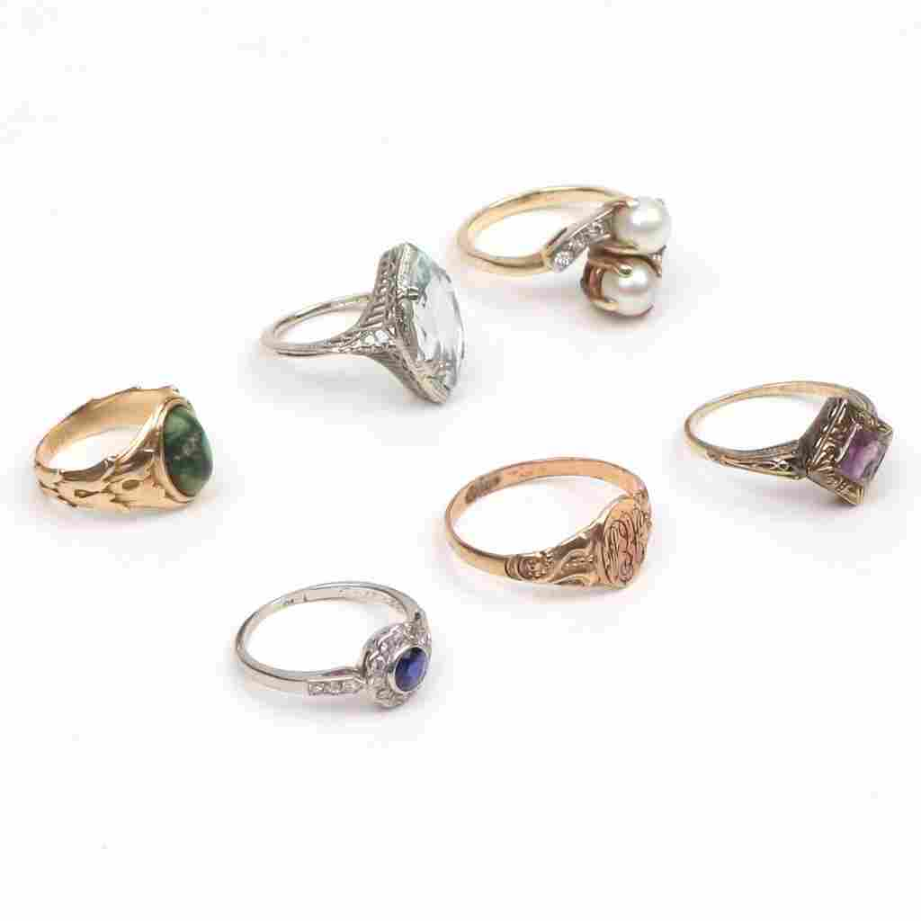 (6pc) MISC. LADY'S RINGS: