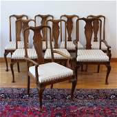 SET OF 8 QUEEN ANNE STYLE OAK DINING CHAIRS