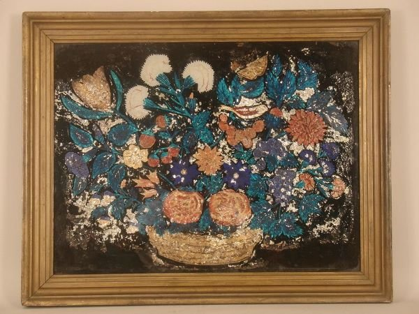10:   2-VICTORIAN TINSEL PAINTINGS, BOTH FLORAL