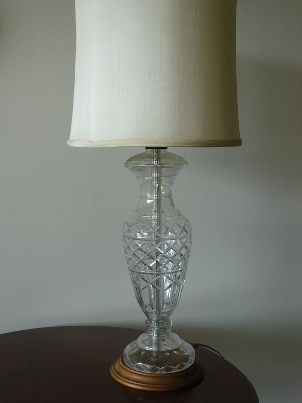 13: PR. WATERFORD TYPE CUT GLASS TABLE LAMPS MOUNTED