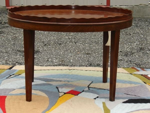 15: MAHOG. OVAL SIDE TABLE W/GALLERY