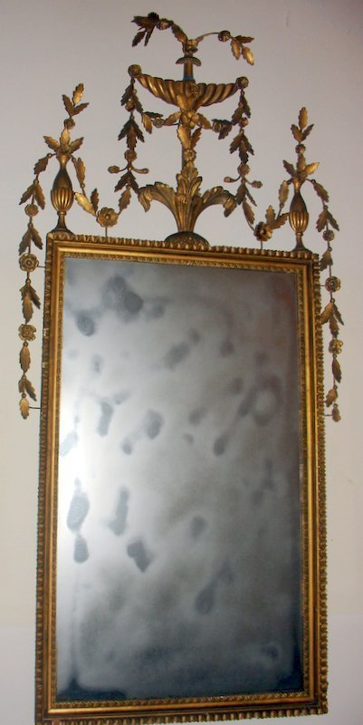 154:   E. 19C. ENG GILT CRVD. WALL MIRROR, CRESTED BY U