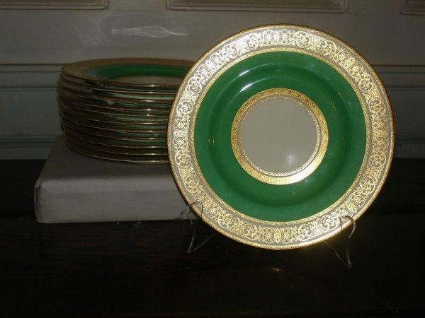 364:   SET 12-MINTON  GREEN & GOLD DECO DESSERT PLATES,