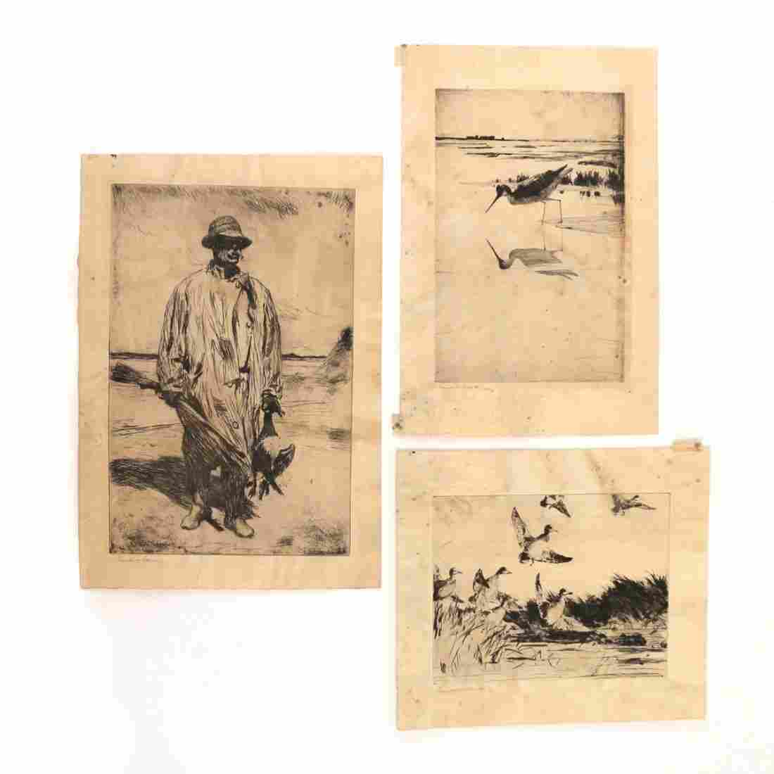 (3pc) FRANK BENSON (American, 1862-1951) ETCHINGS