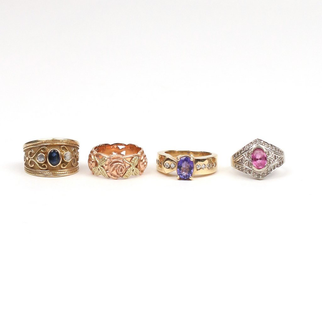 (4pc) GOLD & GEMSTONE RINGS