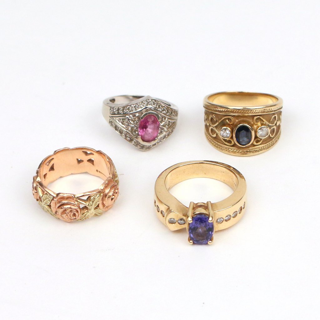(4pc) GOLD & GEMSTONE RINGS - 2