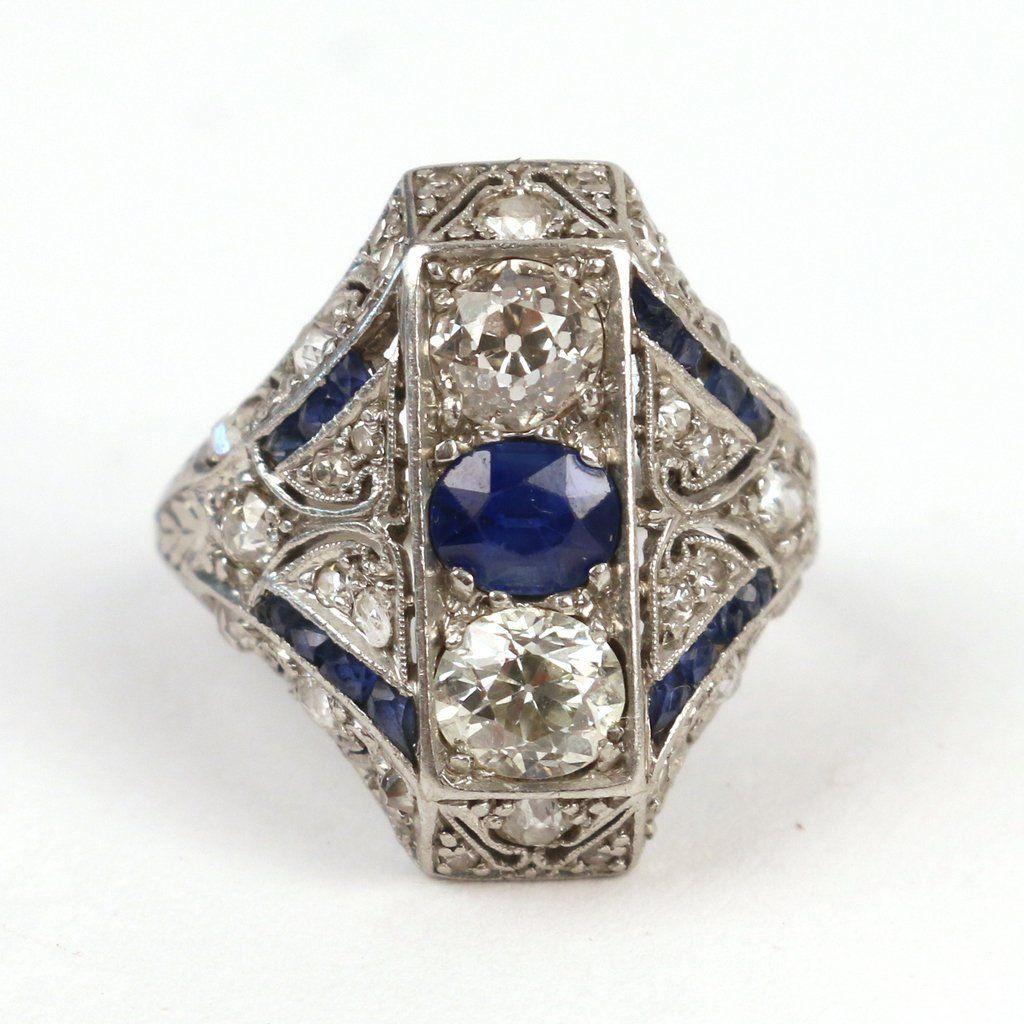ART DECO DIAMOND & SAPPHIRE COCKTAIL RING