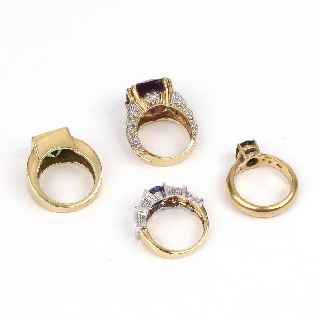 (4pc) 18k GOLD & GEMSTONE RINGS - 4